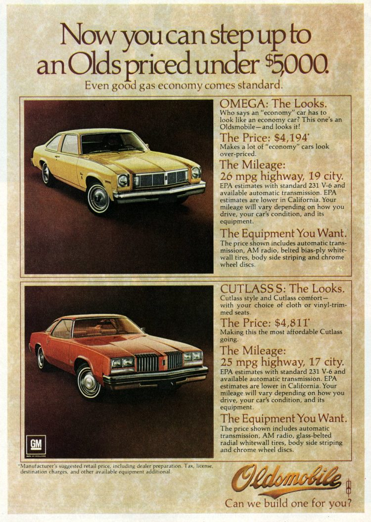 1977 Oldsmobile Cutlass S and Omega classic cars