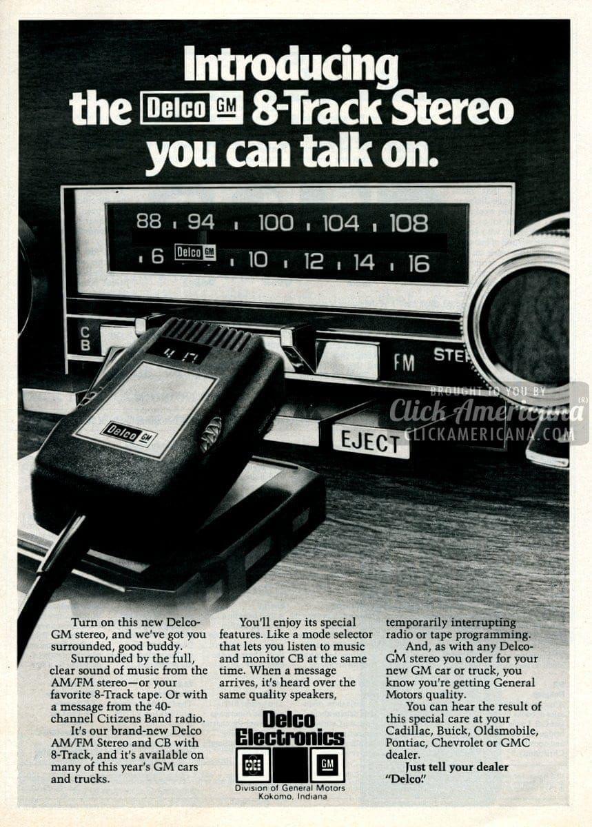 Delco car stereos with CB radio (1977) - Click Americana