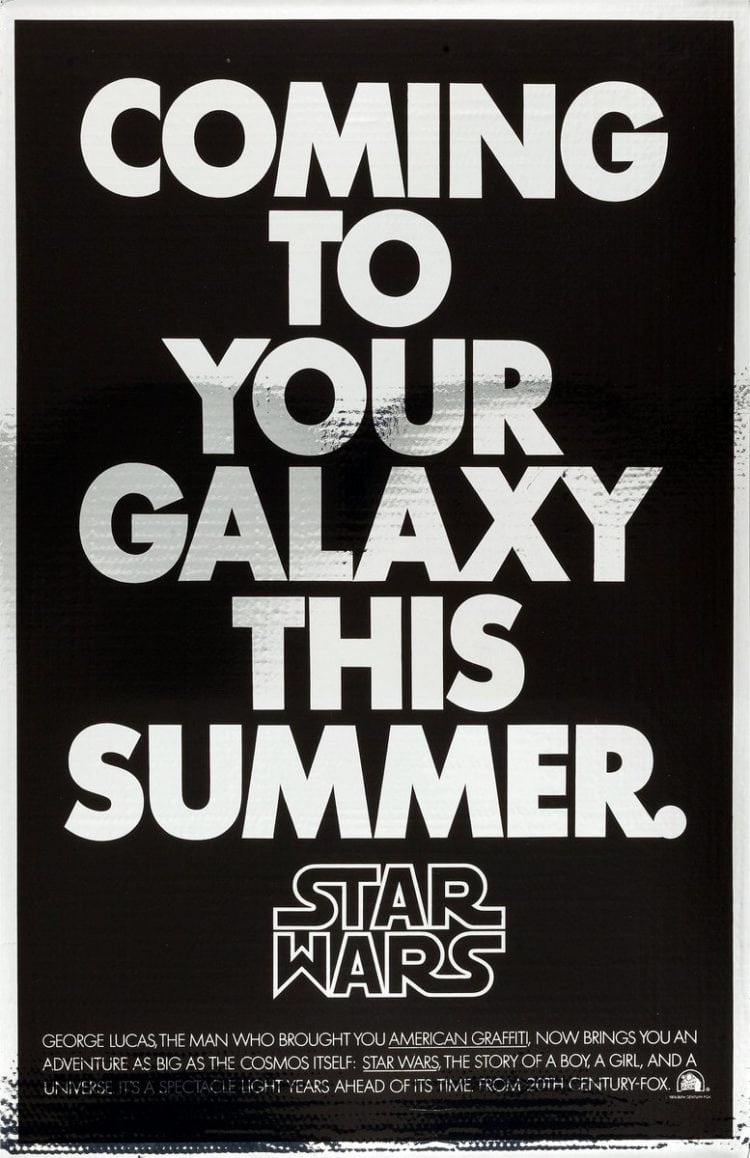 1977 Star Wars Mylar Advance Poster