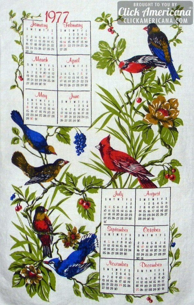 1977 tea towel calendar: Birds and plants