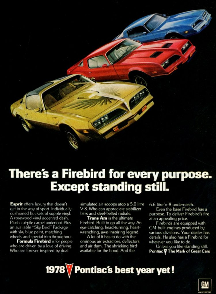 1978 Firebirds Trans Am, Esprit, Formula