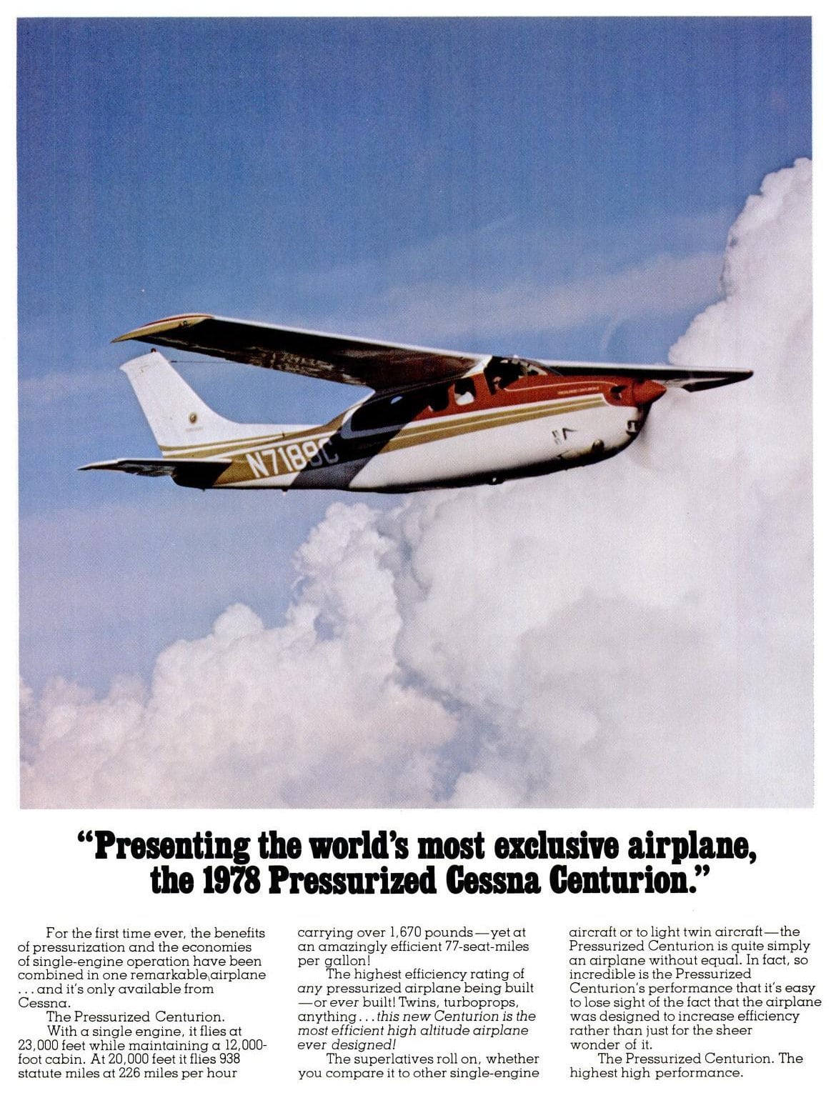 1978 Pressurized Cessna Centurion plane