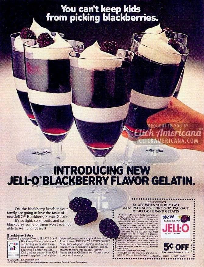 Blackberry Zebra Jell-O dessert (1978)
