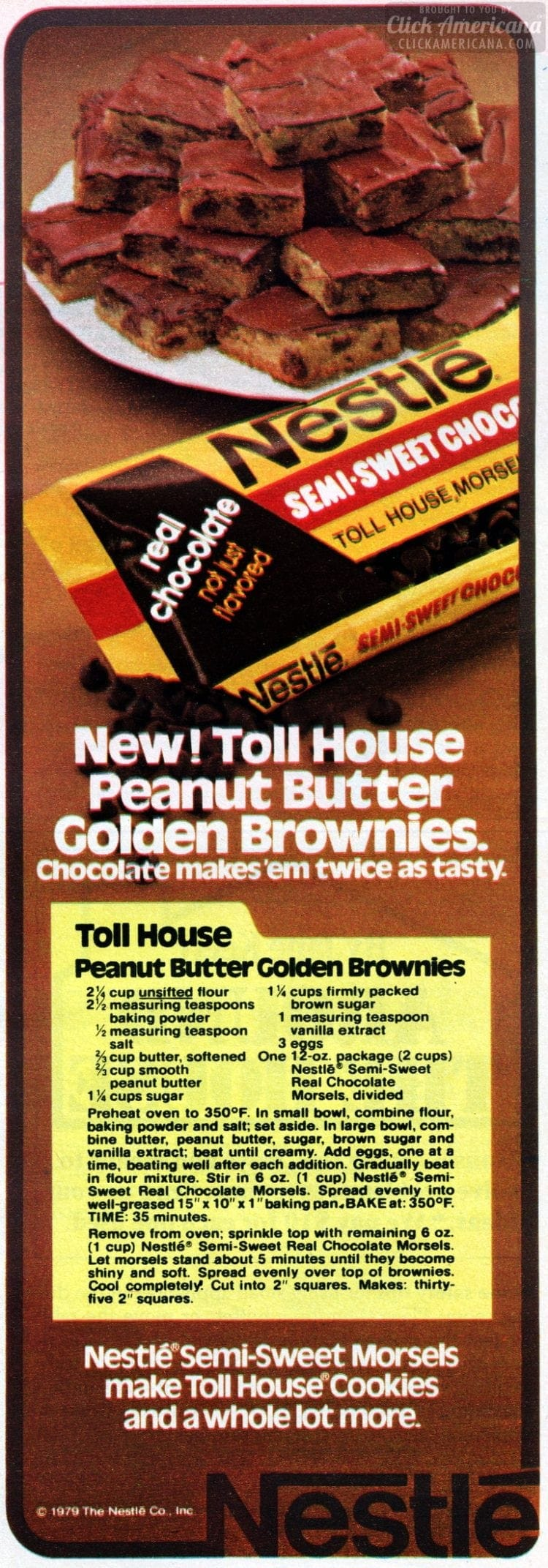 1979 Peanut butter golden brownies with chocolate