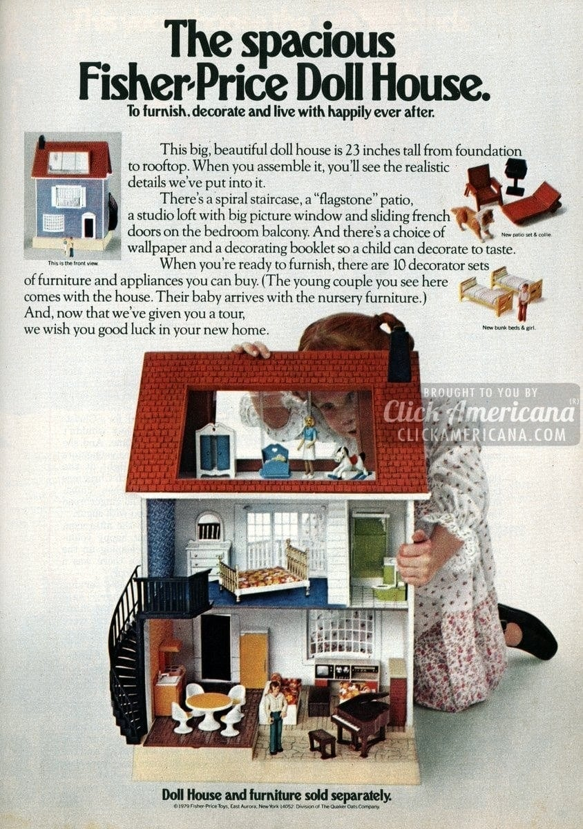 The Spacious Fisher Price Doll House 1979 Click Americana