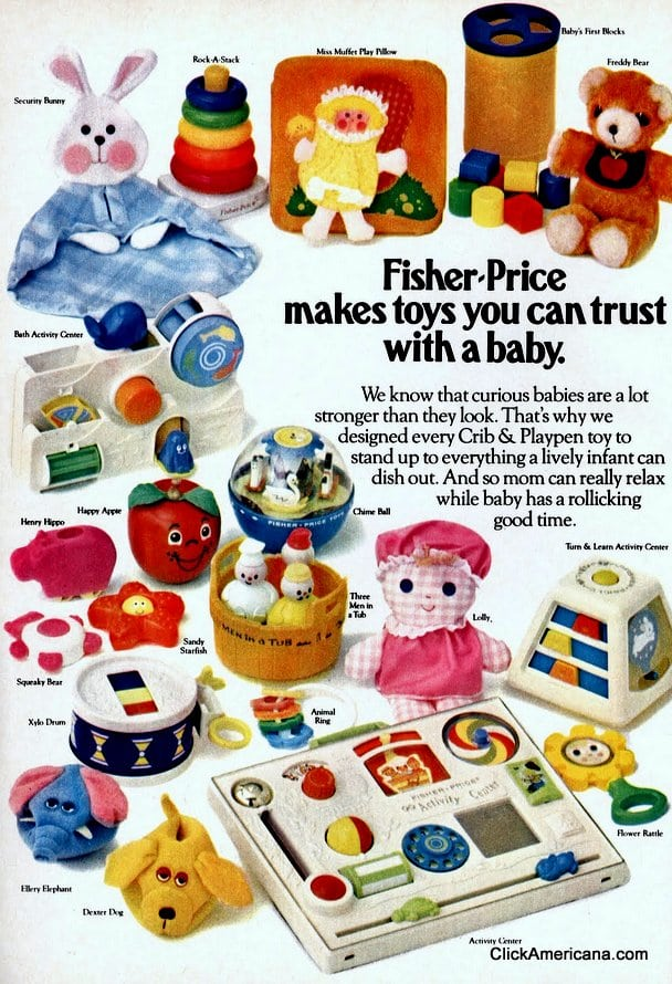 See vintage Fisher Price baby toys from the '70s & '80s