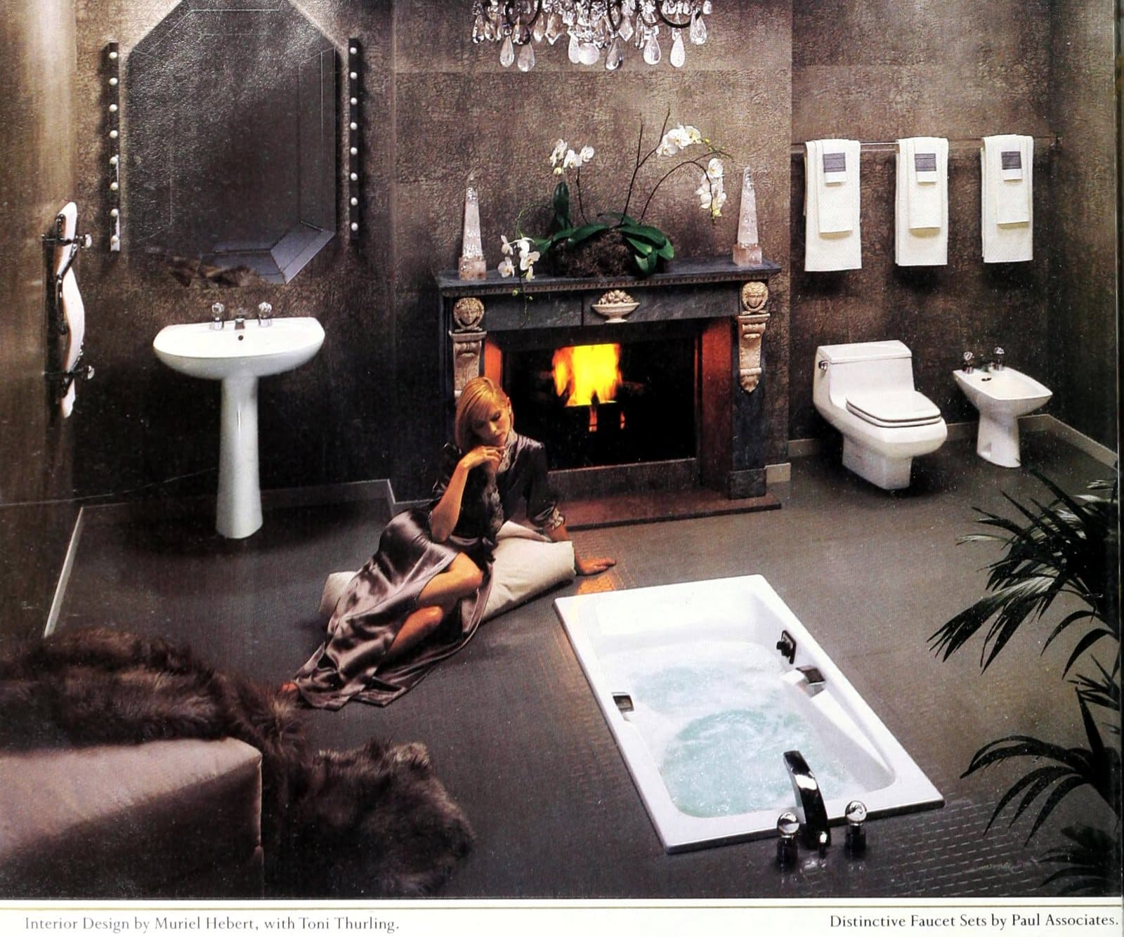 1980s bathroom decor - Brown floor and walls with white bathroom fixtures