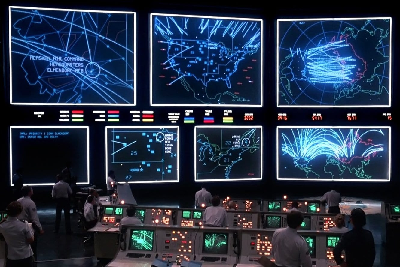 1980s movie War Games - Computer screens with war scenarios