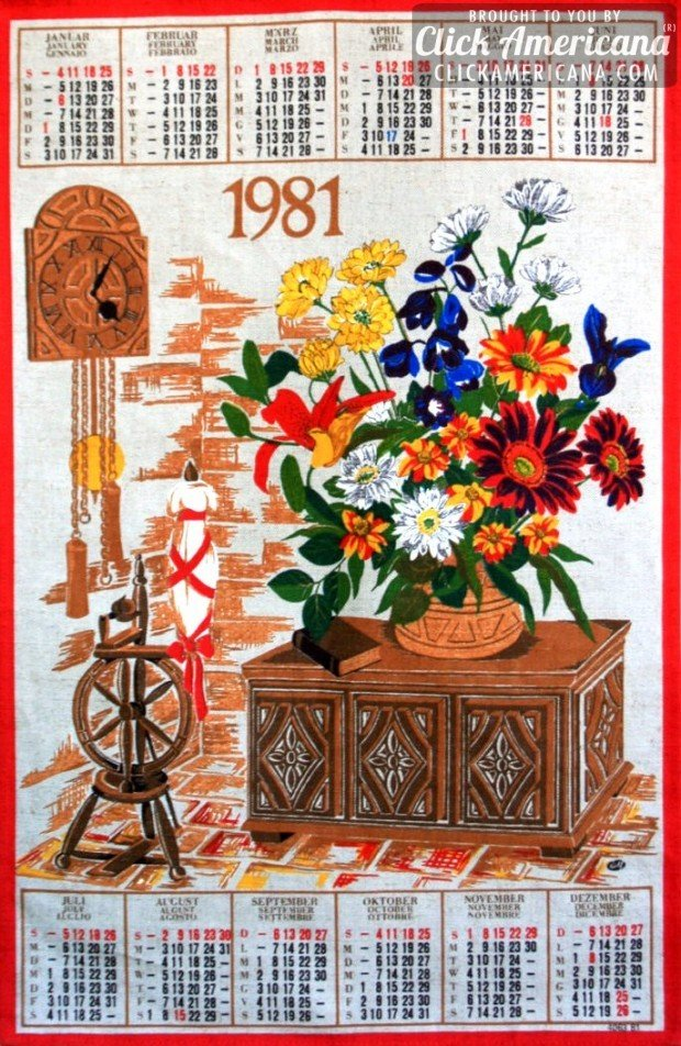 1981 vintage tea towel calendar: Clock, spinning wheel, flowers