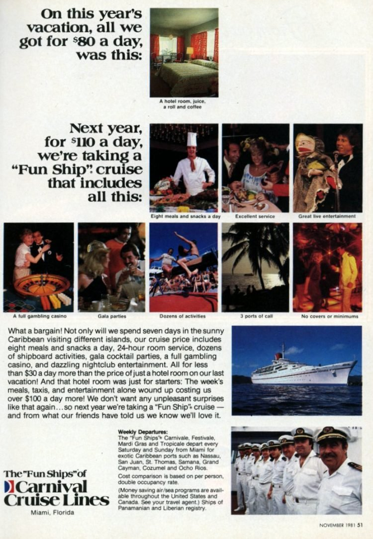 1981 vintage Carnival Cruise Line