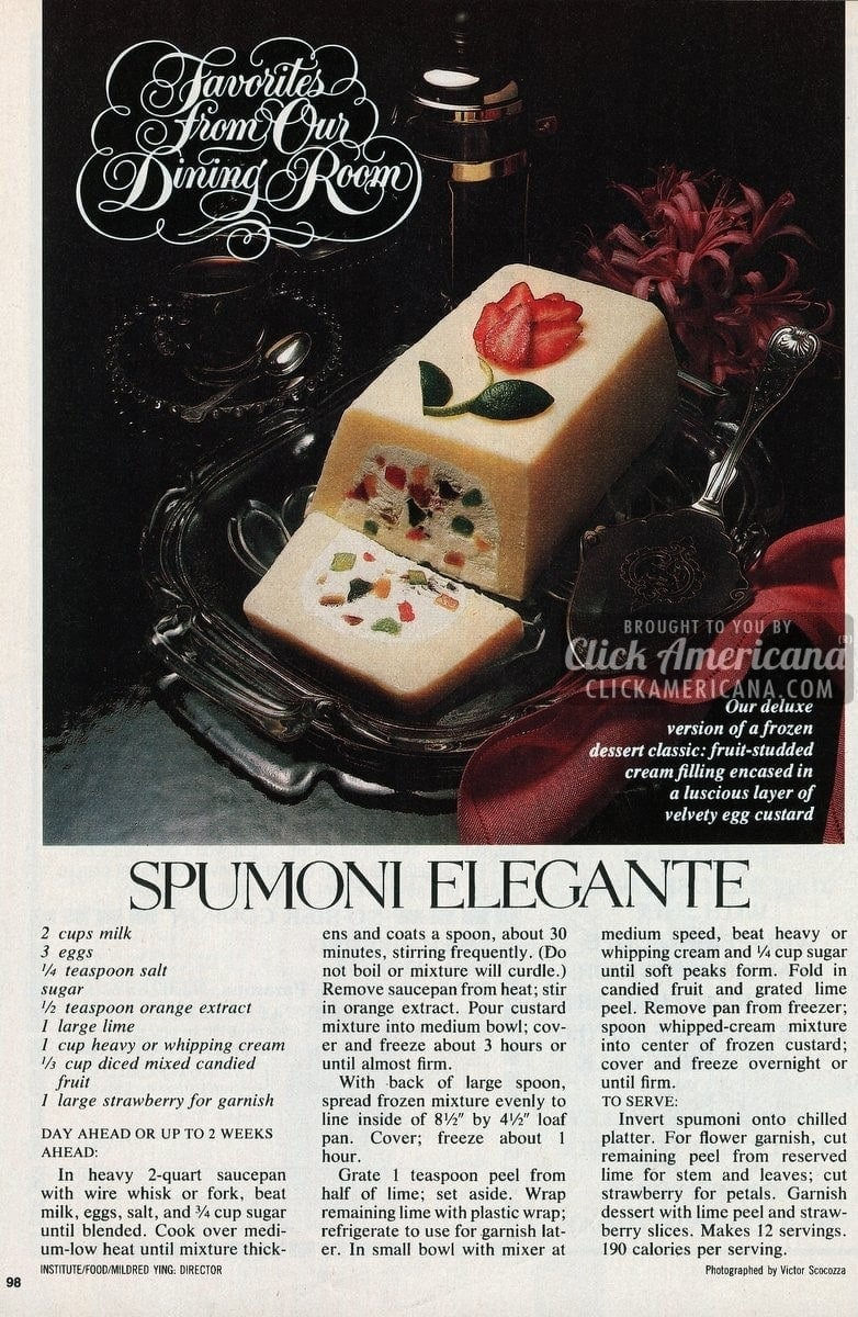 Spumoni Elegante dessert recipe (1982)