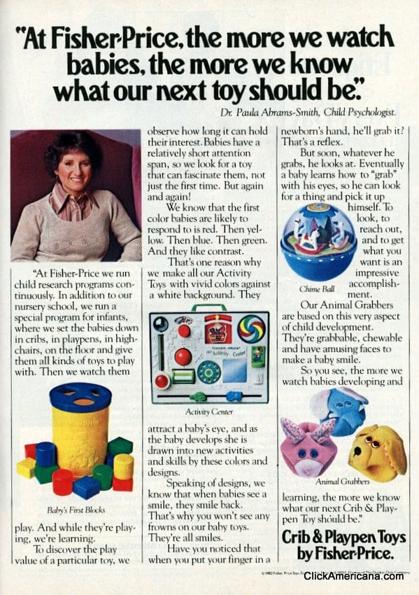 Vintage Fisher-Price infant toy ad: We watch babies (1982)