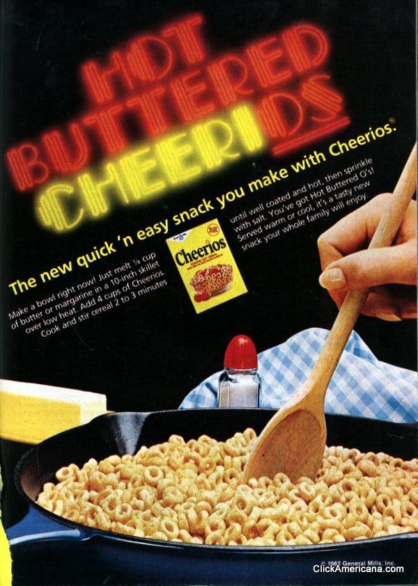 Hot buttered Cheerios recipe (1982)