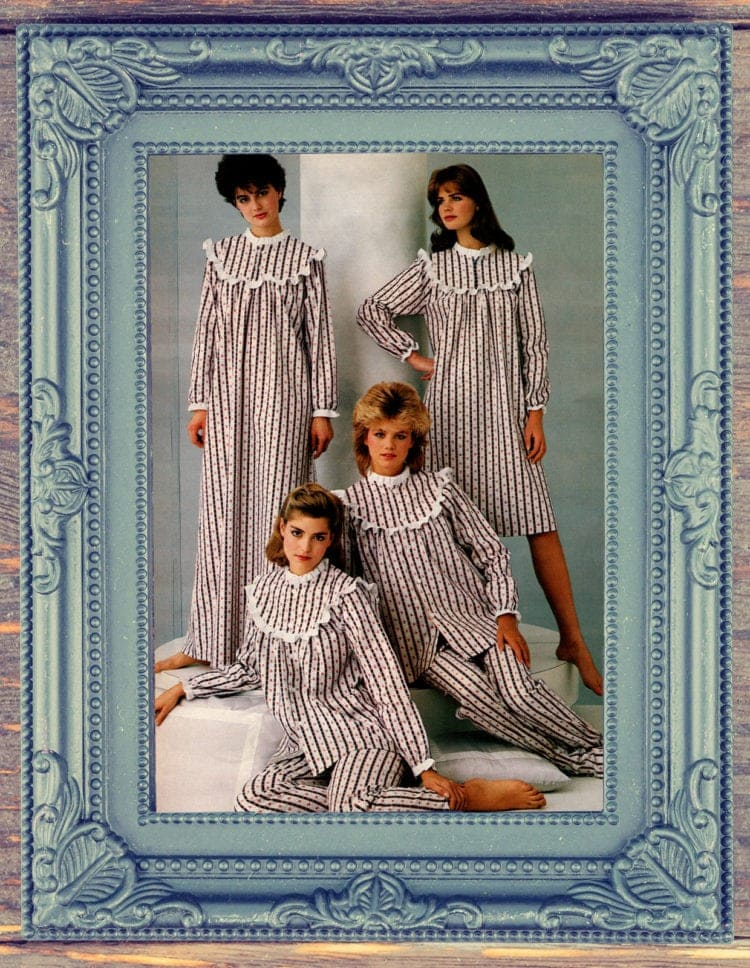 Old-fashioned flannel nightgowns & pajamas, '80s-style