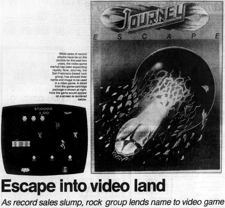 1983 Journey video game cover and screen
