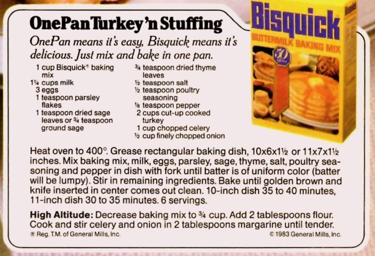 1983 One pan turkey n stuffing recipe card