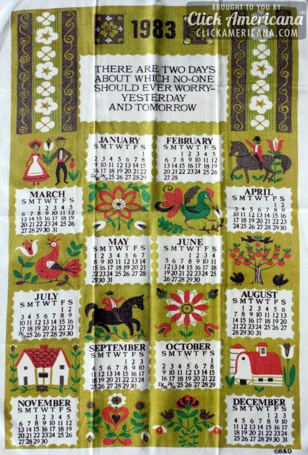 1983 vintage tea towel calendars: American folk art