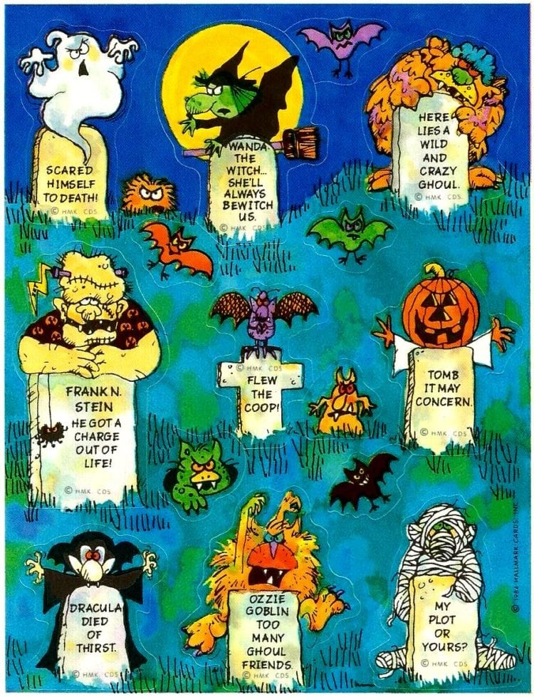 Hallmark Halloween Stickers from 1984 featuring a cemetery with gravestones