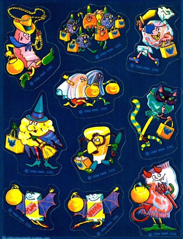 1984 Hallmark Halloween stickers - characters in costume