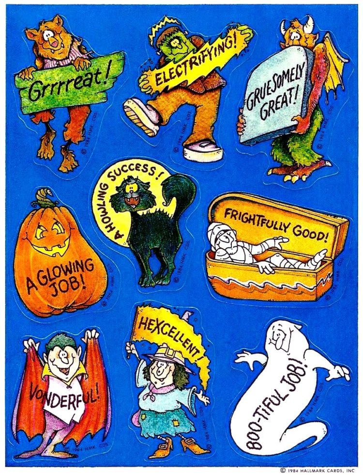 Vintage Halloween stickers from Hallmark - signs and slogans