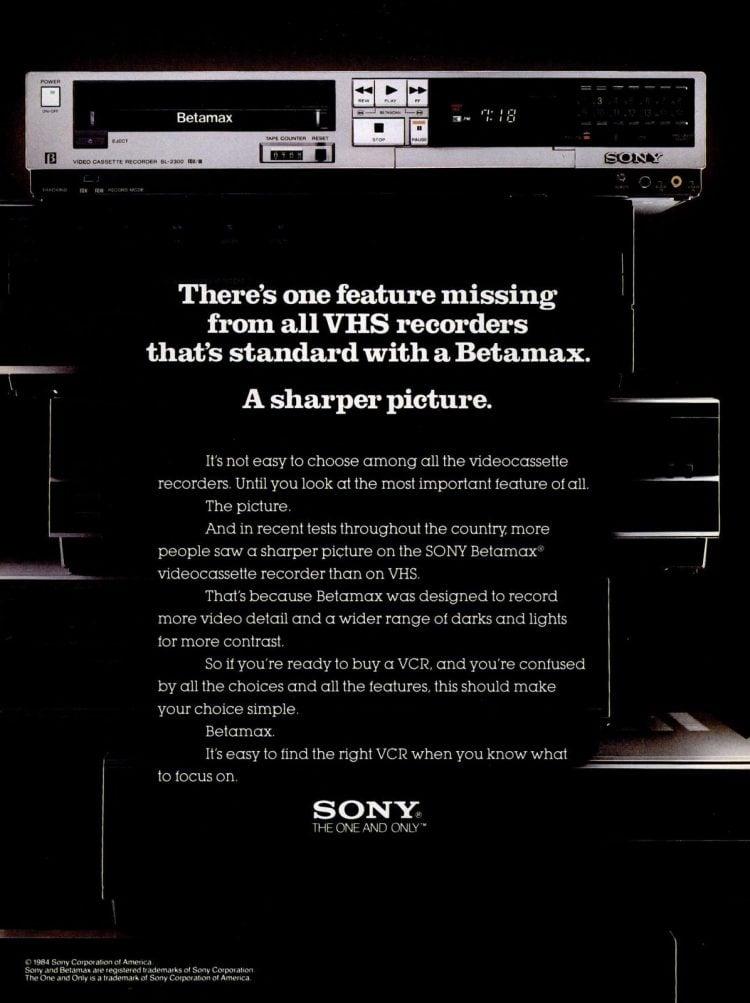 1984 Sony Betamax video recorders - Sharper pictures