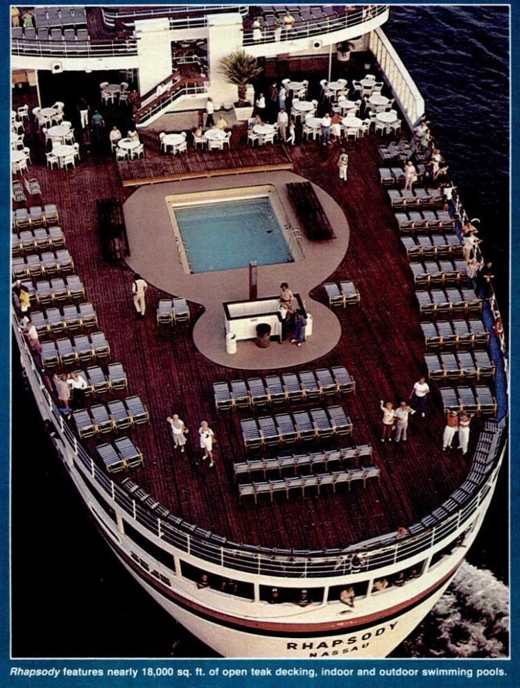 1985 Paquet Rhapsody cruise line deck and pool