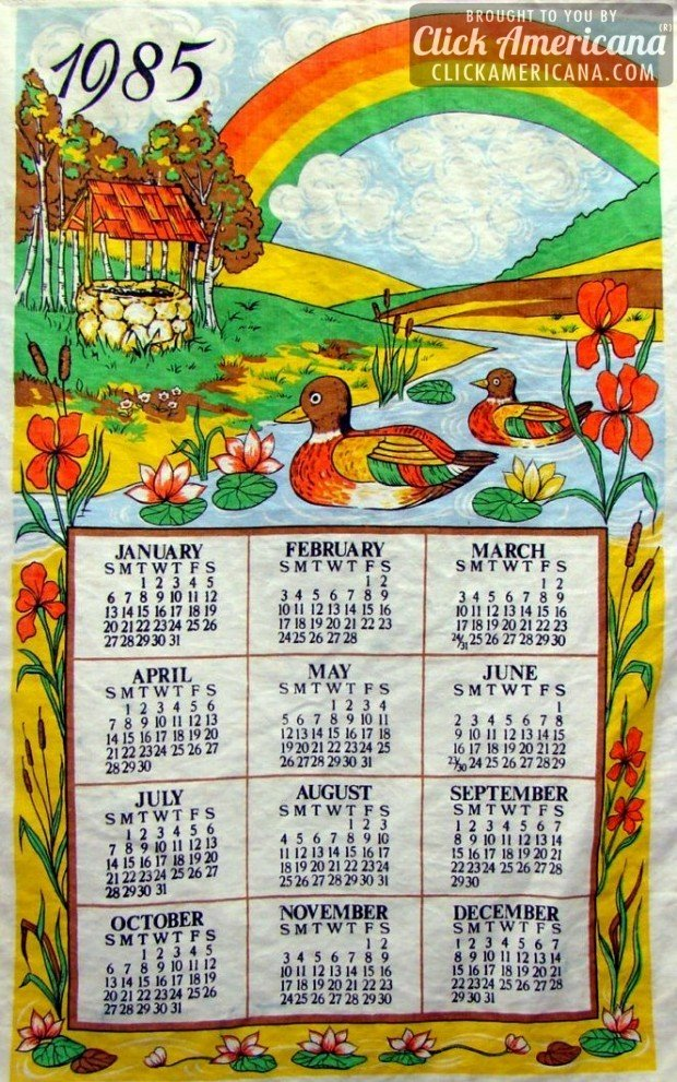1985 vintage tea towel calendars: Wishing well, rainbow, ducks on a river