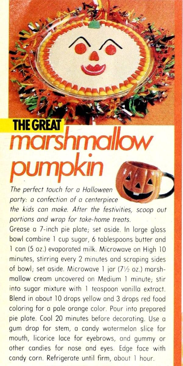 Great marshmallow pumpkin recipe (1986)