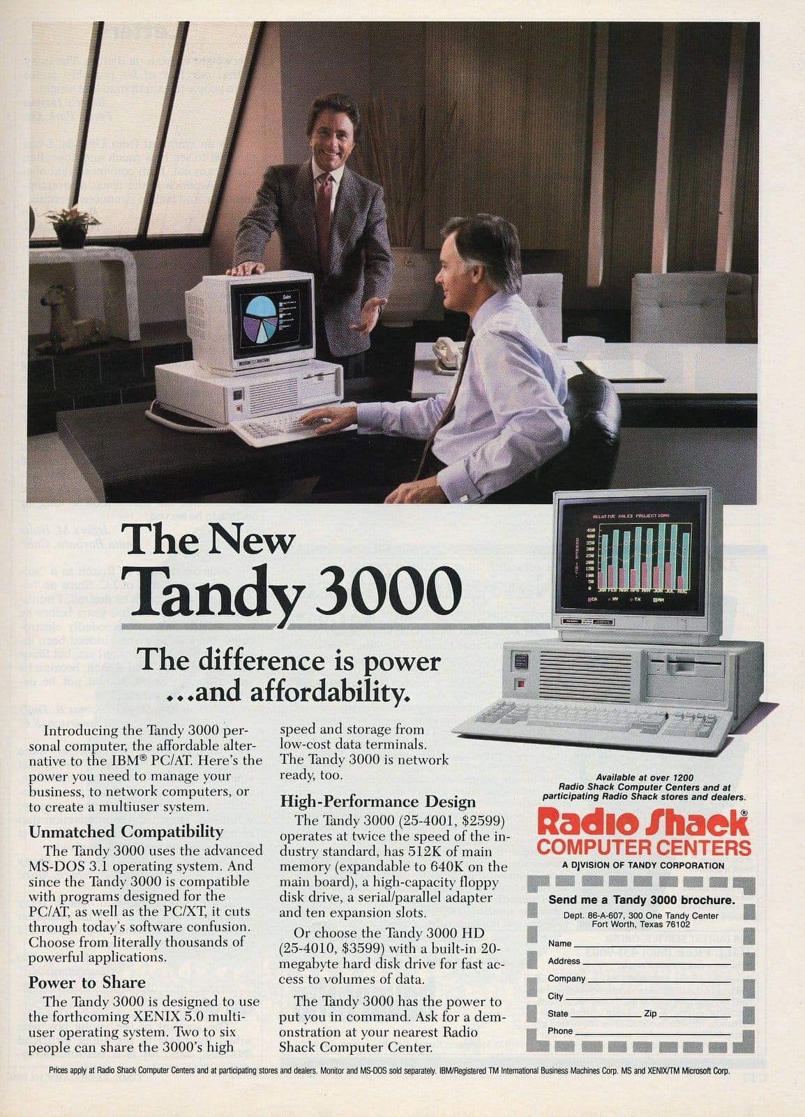 1986 Tandy 3000 personal computer from Radio Shack