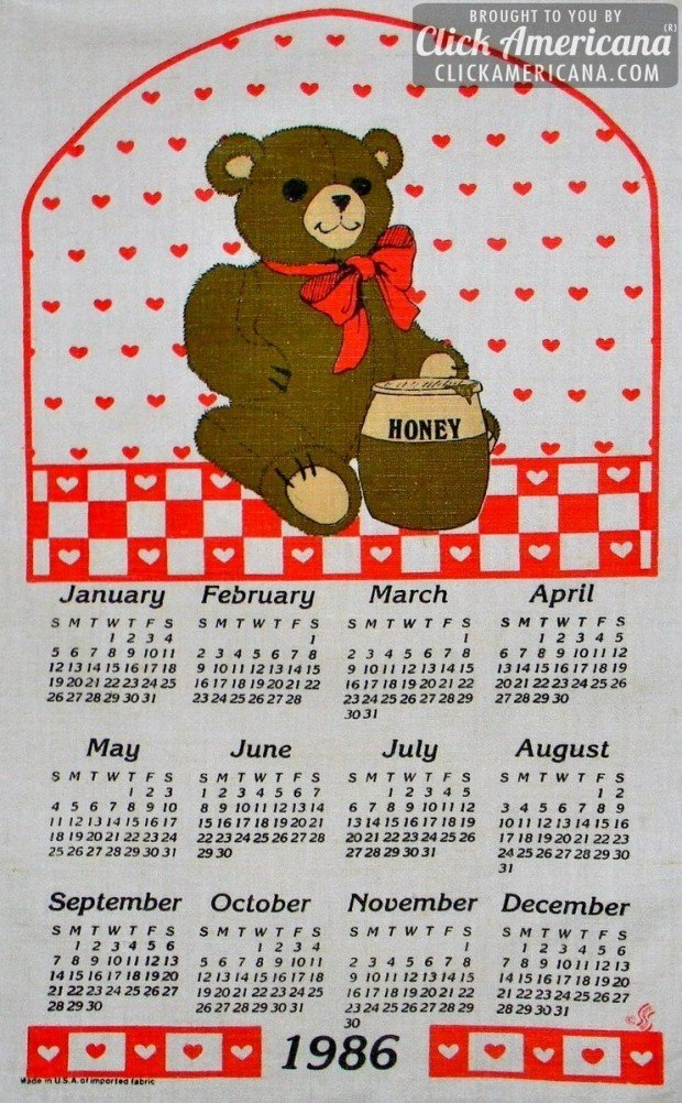 1986 vintage tea towel calendars: Hearts & bears