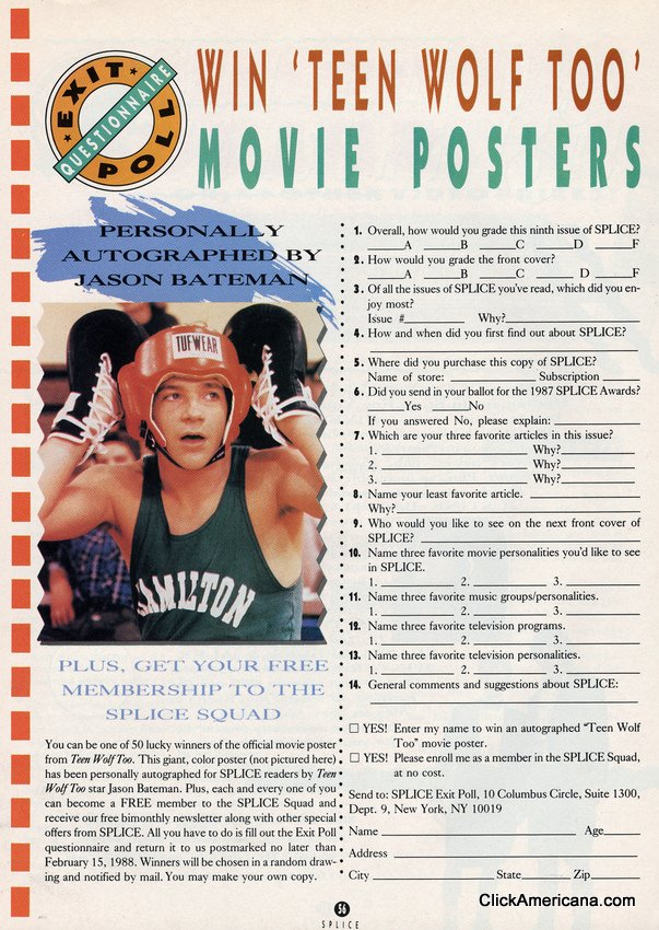 Jason Bateman Teen Wolf Too Movie Contest 1988 Click