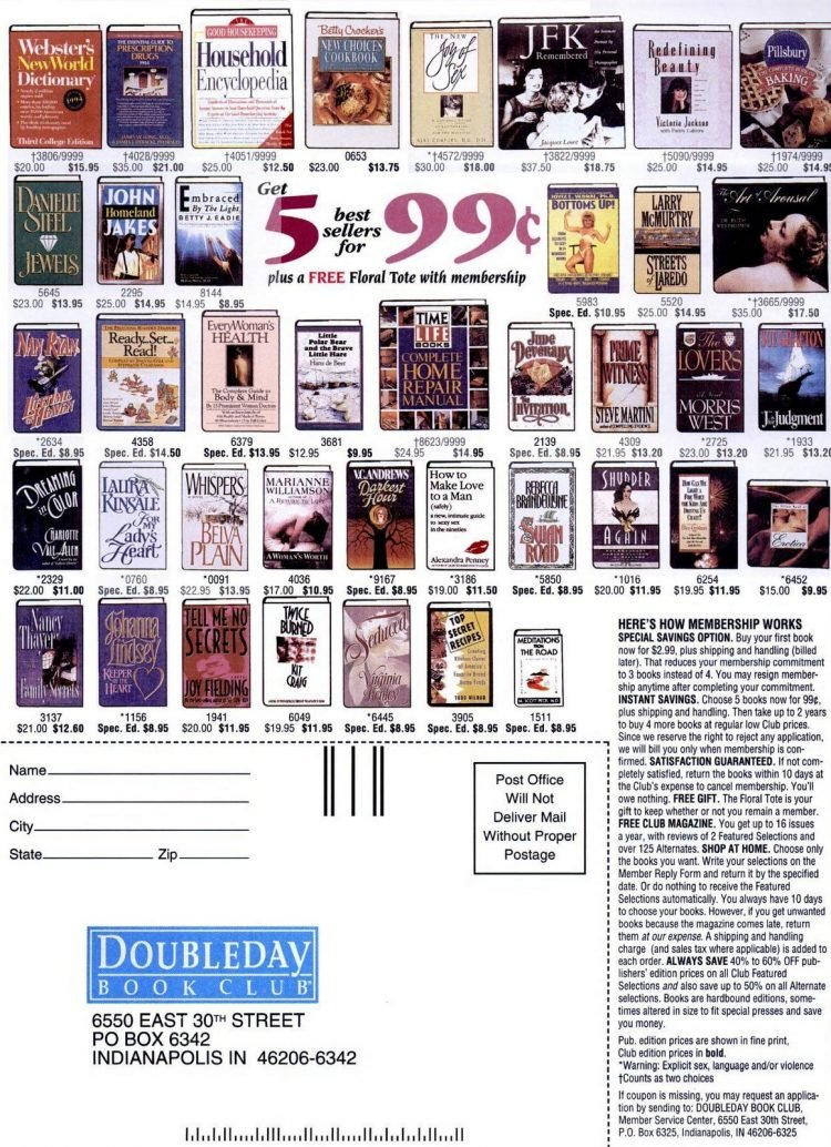 1994 Doubleday Book Club offer