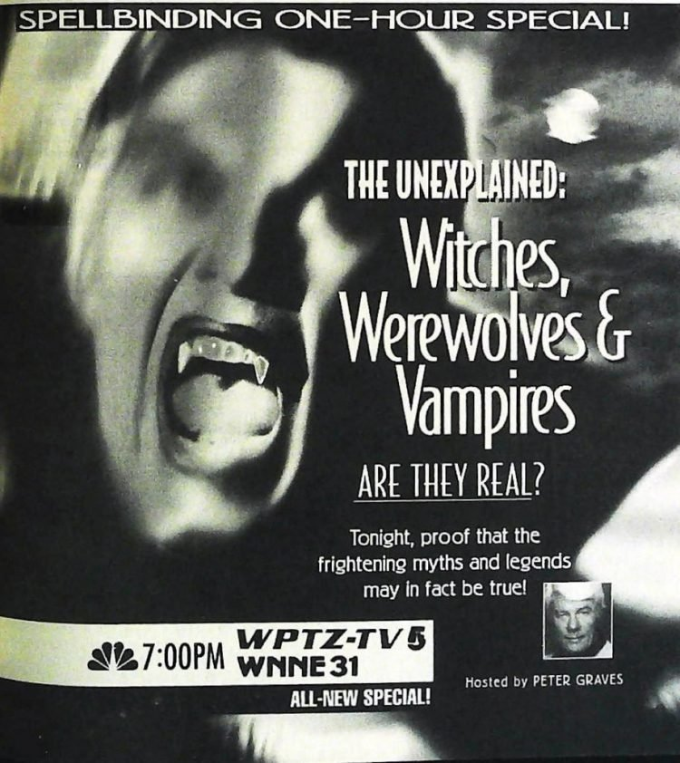1994 The Unexplained Witches Werewolves and Vampires Tv special