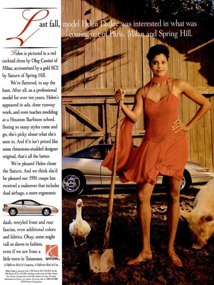 Helen Dailey and her Saturn car