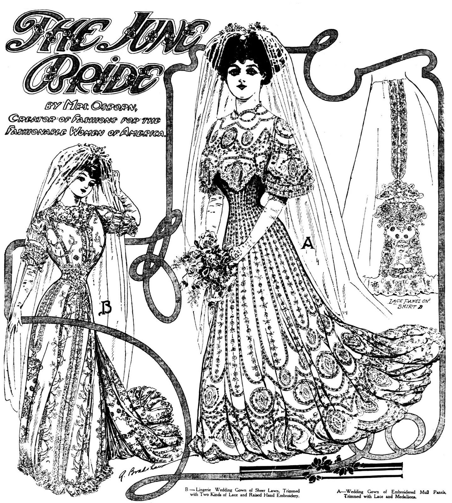2 embroidered antique wedding gowns from 1906