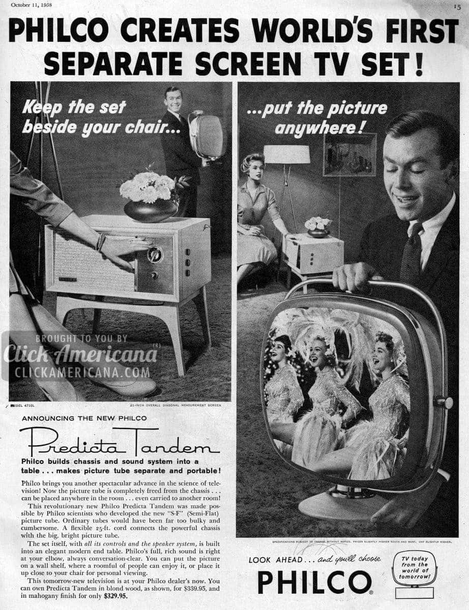 2-part TV set introduced by Philco (1958)