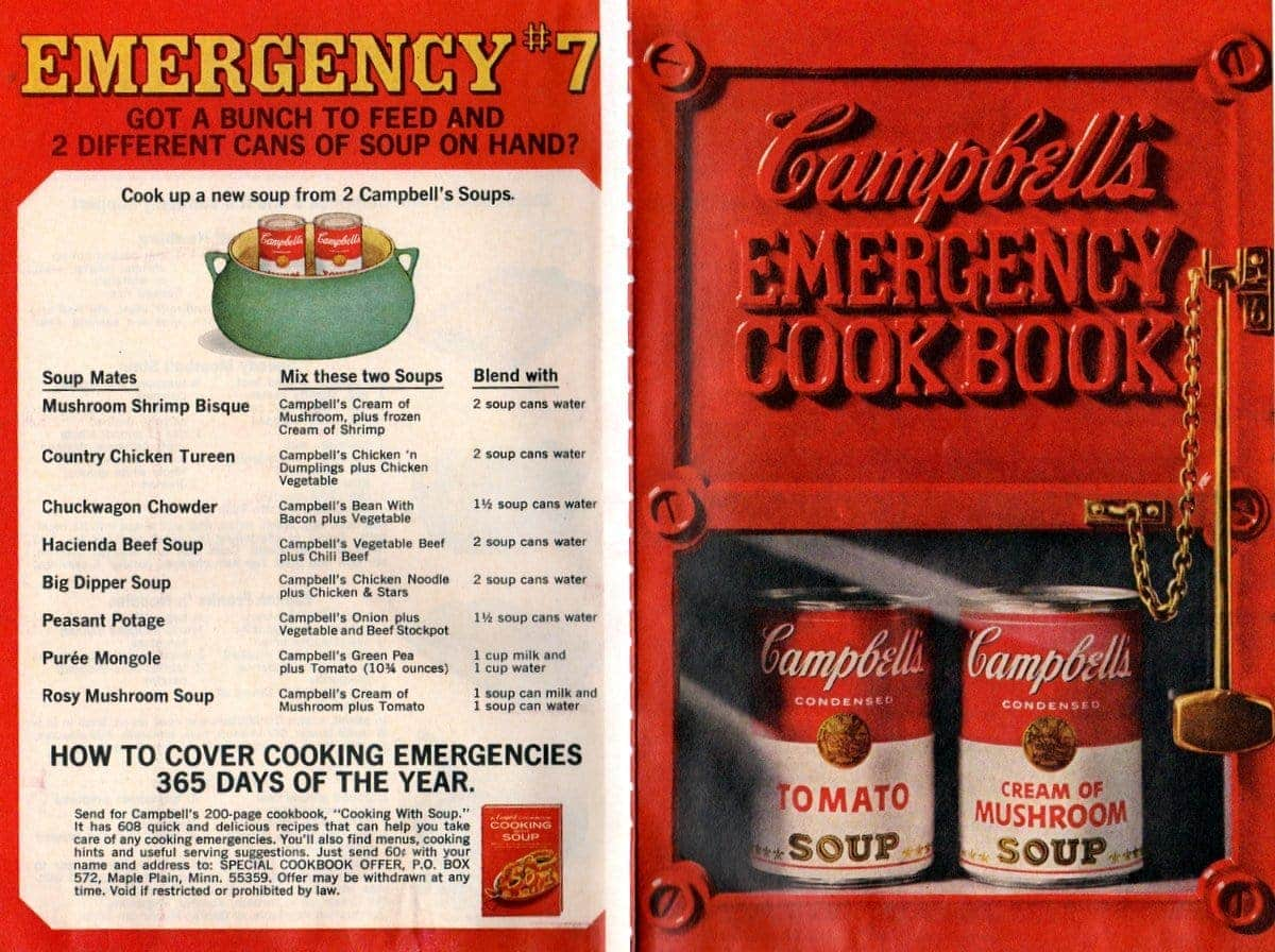 20 vintage recipes from Campbell's emergency dinner cookbook (1968)