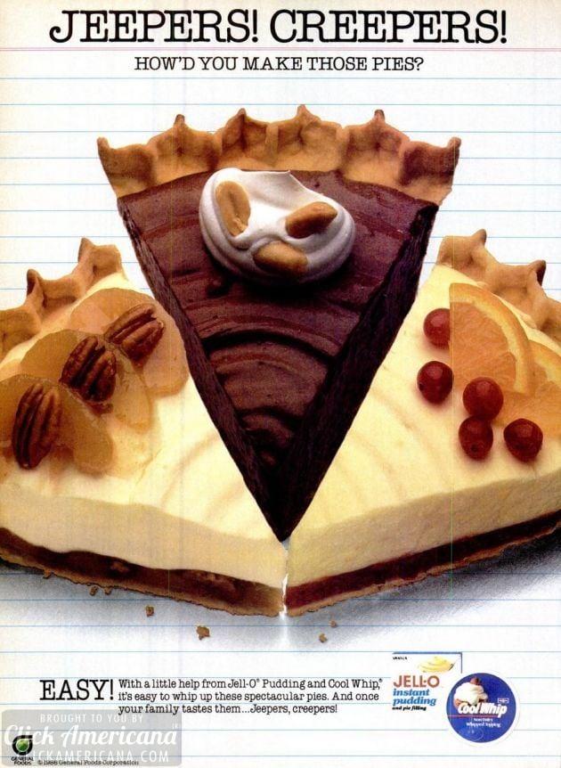 Apple crunch pie, Chocolate peanutty pie & Cranberry ribbon pie recipes (1986)