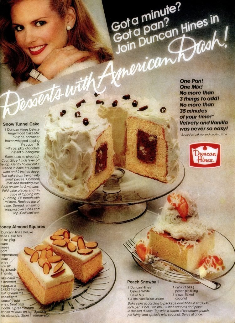 3 easy vintage dessert recipes Chocolate tunnel cake, Honey almond squares & Peach snowball (1982)