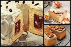3 easy vintage dessert recipes Chocolate tunnel cake, Honey almond squares Peach snowball (1982)