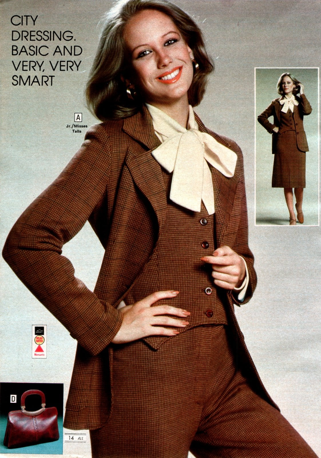 3 piece suit for a woman with a bow - Vintage 70s fashion