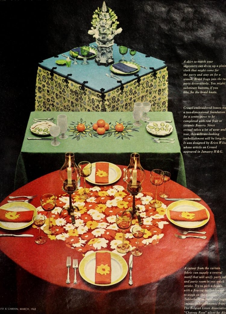 3 retro small party 60s table decor concepts from 1963