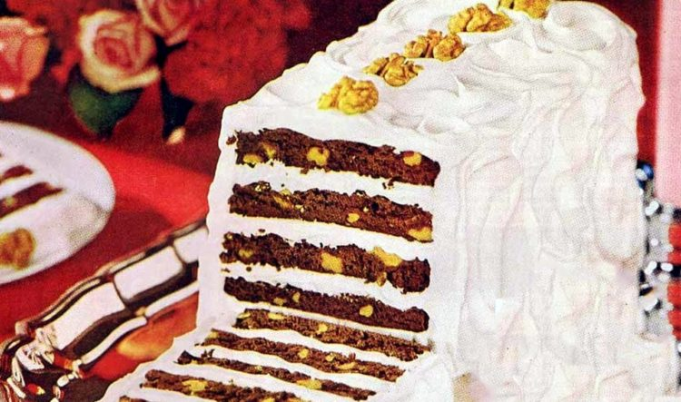 4 new walnut brownie desserts from the sixties - including a retro ribbon loaf cake