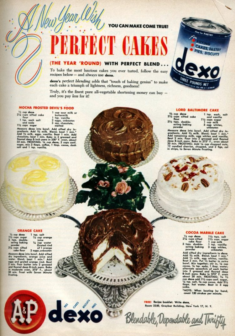 4 old-fashioned New Year's cakes Cocoa marble, Orange & more (1950)