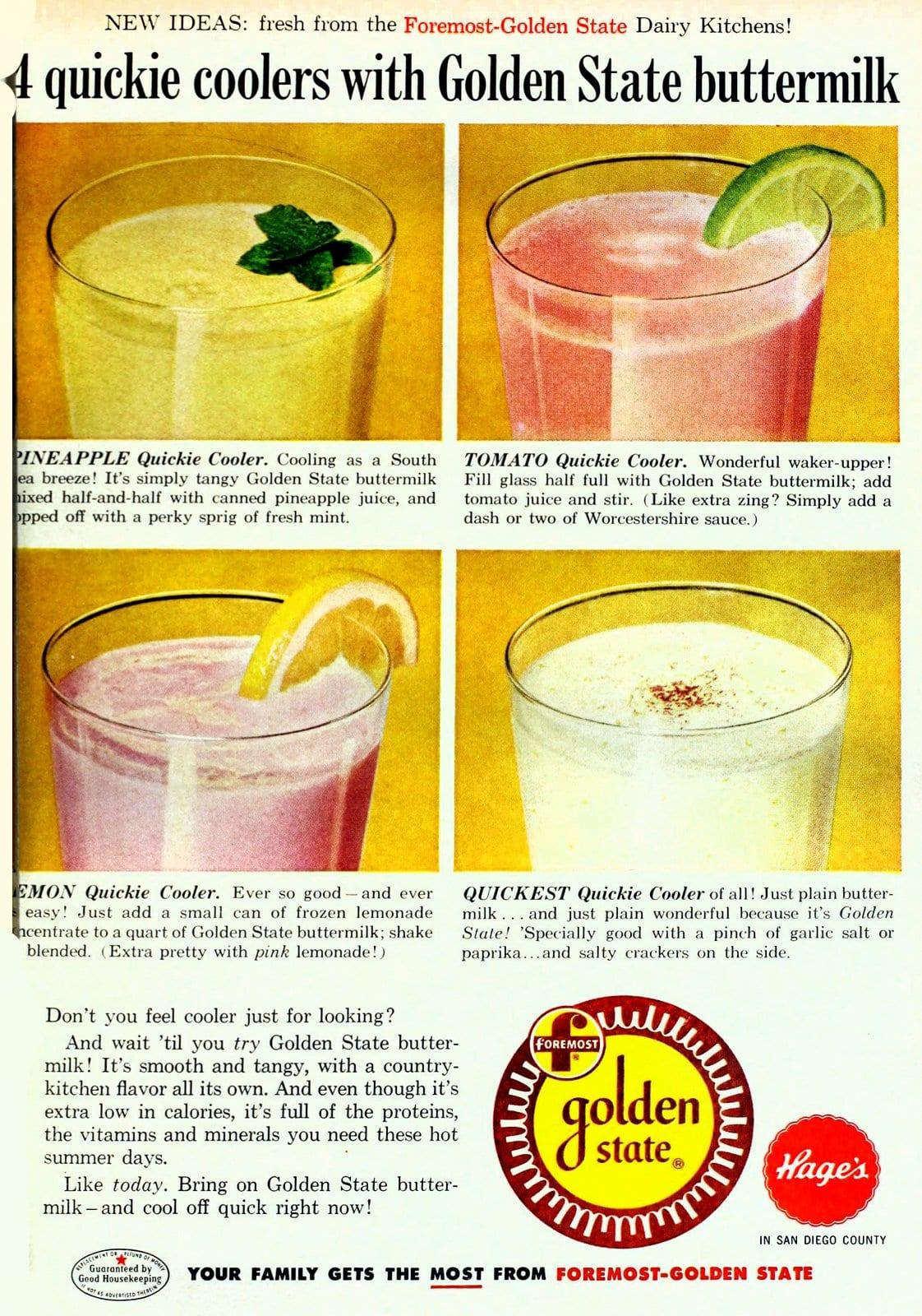 4 quickie buttermilk cooler recipes (1958)