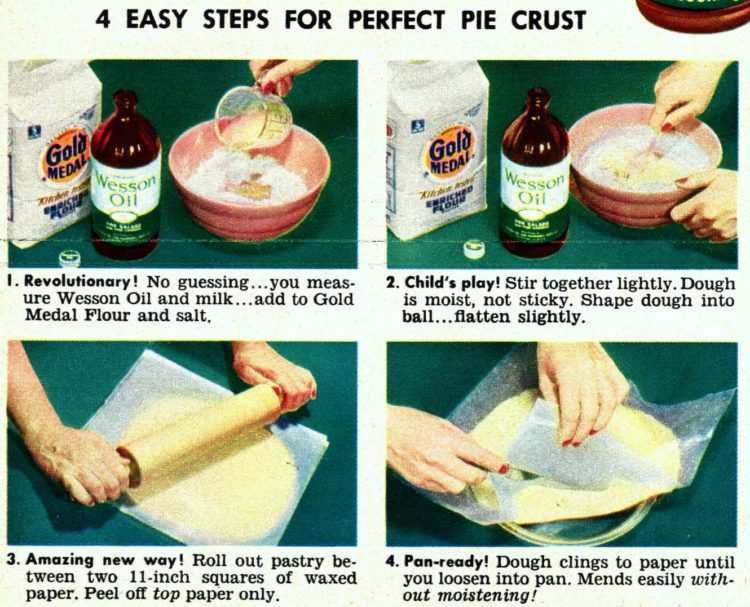 4 steps for a perfect easy vegetable oil pie crust