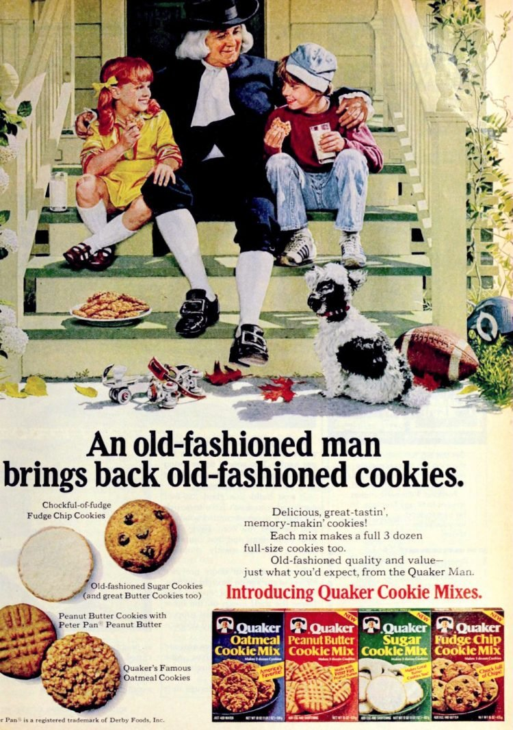 4 vintage Quaker boxed cookie mixes from 1977
