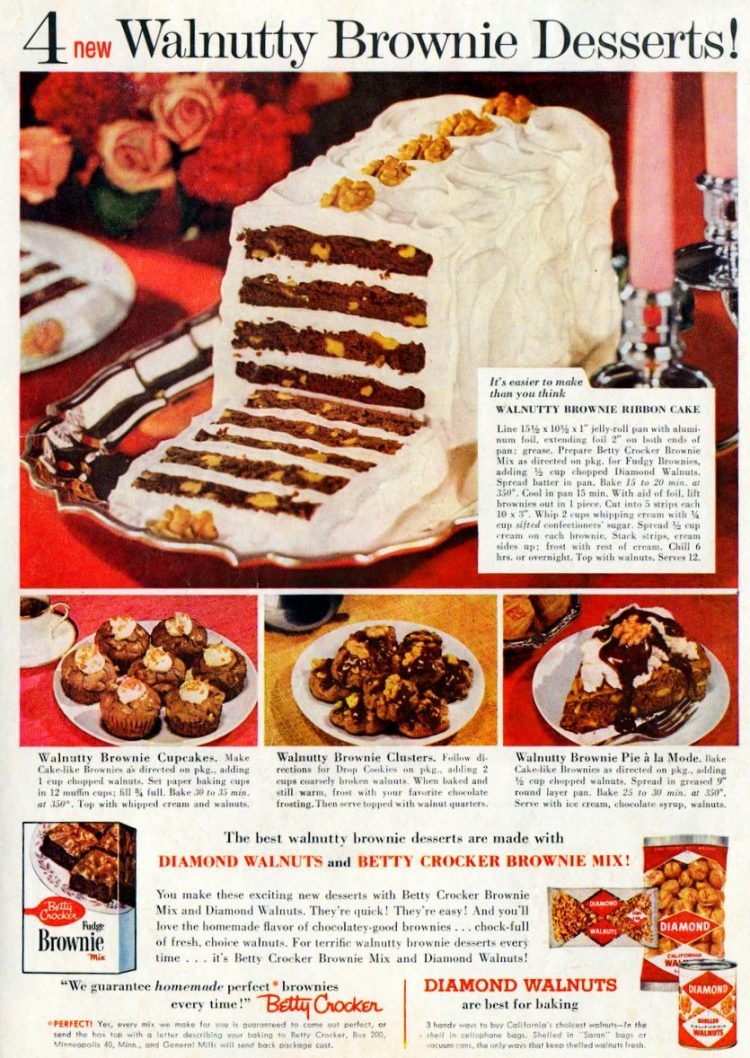 4 walnutty brownie desserts 1960