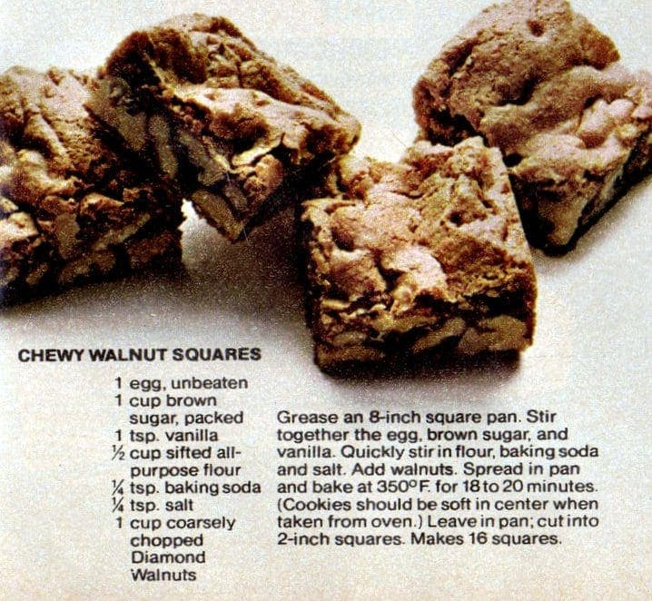 4 wonderful walnut recipes - Chewy walnut squares
