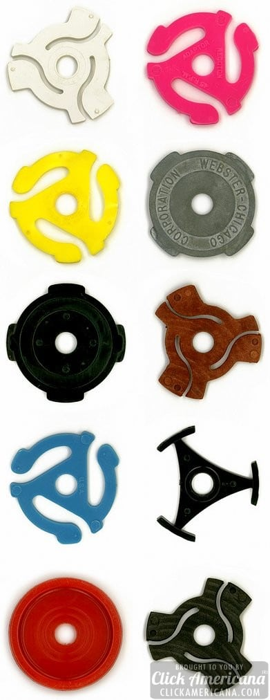45 rpm record inserts, single record adapters